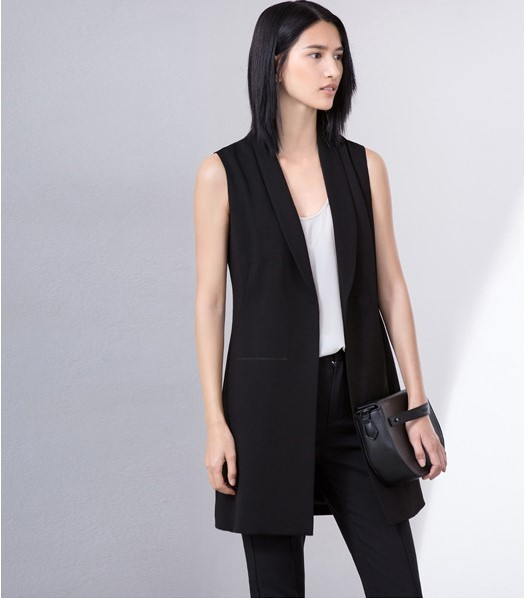 2016 black &white OL office lady Women's Causal Long Vest V-neck stand collar Sleeveless Jacket solid color female's slim Blazer