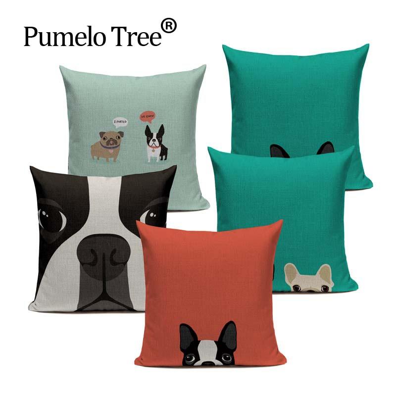 Hot Linen boston terrier French Bulldog Gifts Luxury Cushion Pillow Case 45Cmx45Cm Square Office Chair Handmade Cushion Case