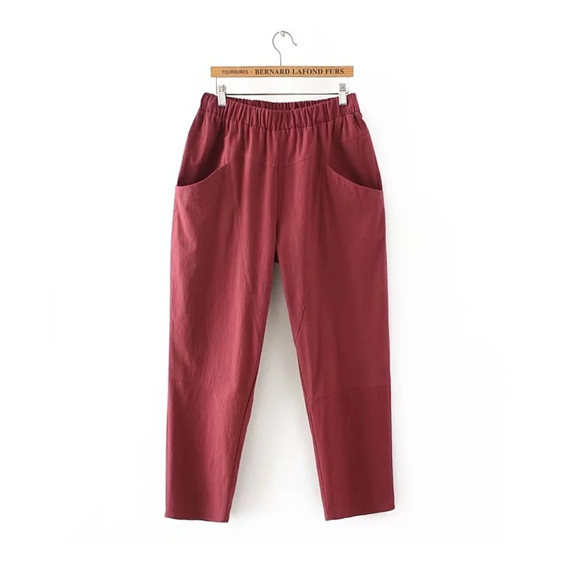 100% Wahr Plus Größe Breite Bein Lose Frauen Hosen Große Taschen Baumwolle Leinen Ankle-länge Casual Lose Hosen