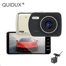 QUIDUX Dash cam Car DVR Dual Lens 4 pollice Full HD 1080 p Monitor di Parcheggio WDR Visione Notturna Retrovisore Video registratore Videocamera per auto 2018