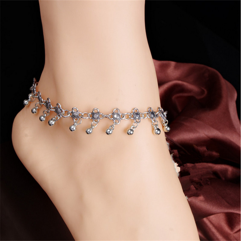 Summer Style New Charm Anklets for Women Vintage Foot Jewelry Ancient Silver Plated Flower Ankle Chain For Women JL-027