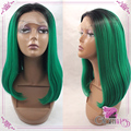 Fashion Short Straight Wigs Ombre Black to Green Synthetic Lace Front Wigs Ombre Bob Wigs Heat Resistant Wigs for Black Women