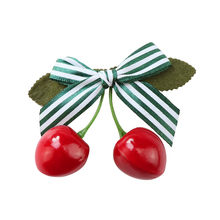 Striped Red cherry Kids Barrettes Infant Ball Baby Hairpins Kids Hair Clips Princess Children Headwear Girls Hair Accessories1N6(China)