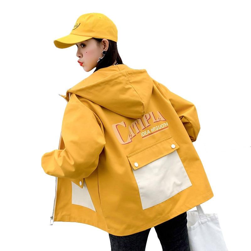 Fashion Big Pocket Print Spring   Jacket   Women Harajuku Style Hooded Coat 2019 New Long Sleeve Zipper   Basic     Jacket   Abrigo Mujer