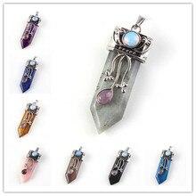 цена 100-Unique 1 Pcs Silver Plated Many Color Quartz Stone Sword Shape with Flower Leaf Pendant Vintage Jewelry