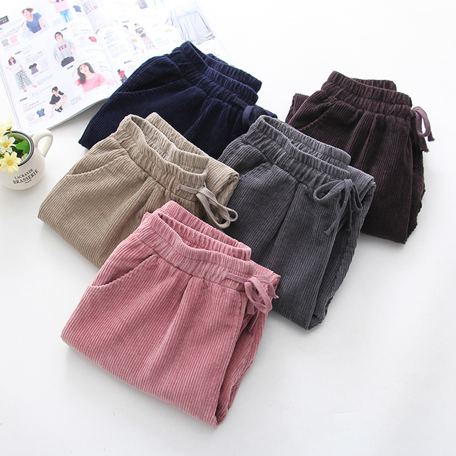Autumn Winter new corduroy casual pants women's trousers Korean version of high-waisted rope strips down the foot Haren trousers