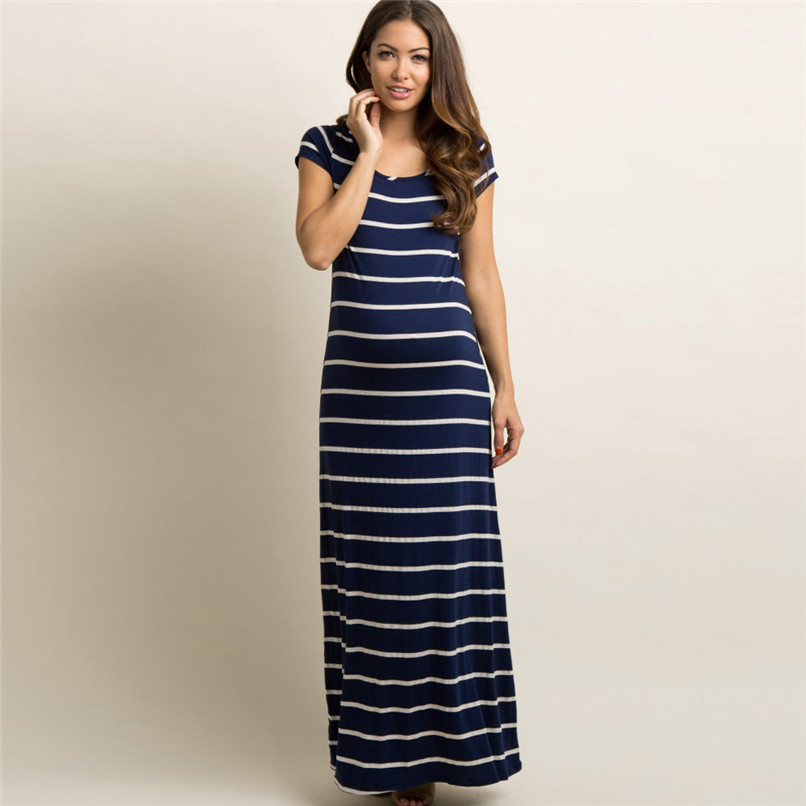 ae35da83d0a6e Summer Maternity Clothes Fashion Women Pregnant Maternity Striped Short  Sleeve Ankle Length Dress Casual Pregnancy Dress JE21#FN-in Dresses from  Mother ...