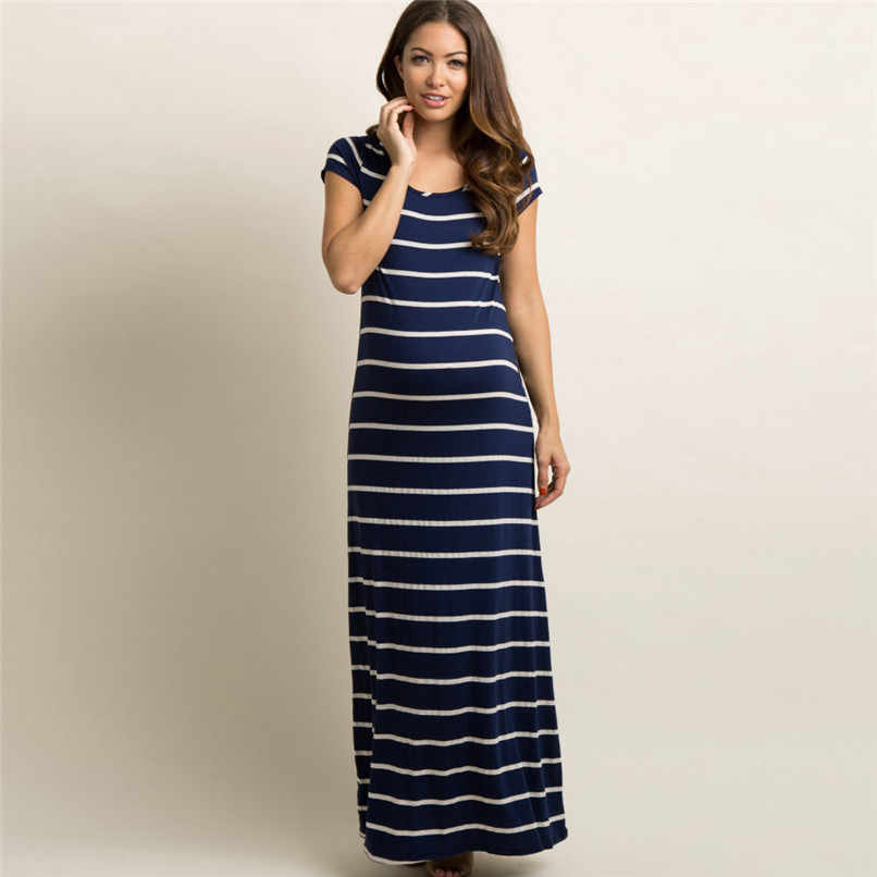 396ebbe84c ... Summer Maternity Clothes Fashion Women Pregnant Maternity Striped Short  Sleeve Ankle-Length Dress Casual Pregnancy ...