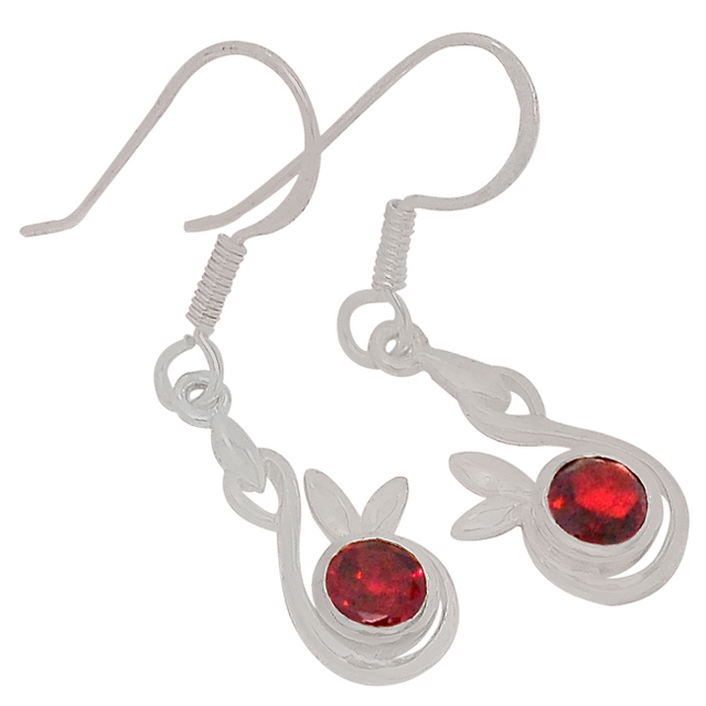 Genuine Garnet Earrings 100 925 Sterling Silver 34mm 2 6g Er2198