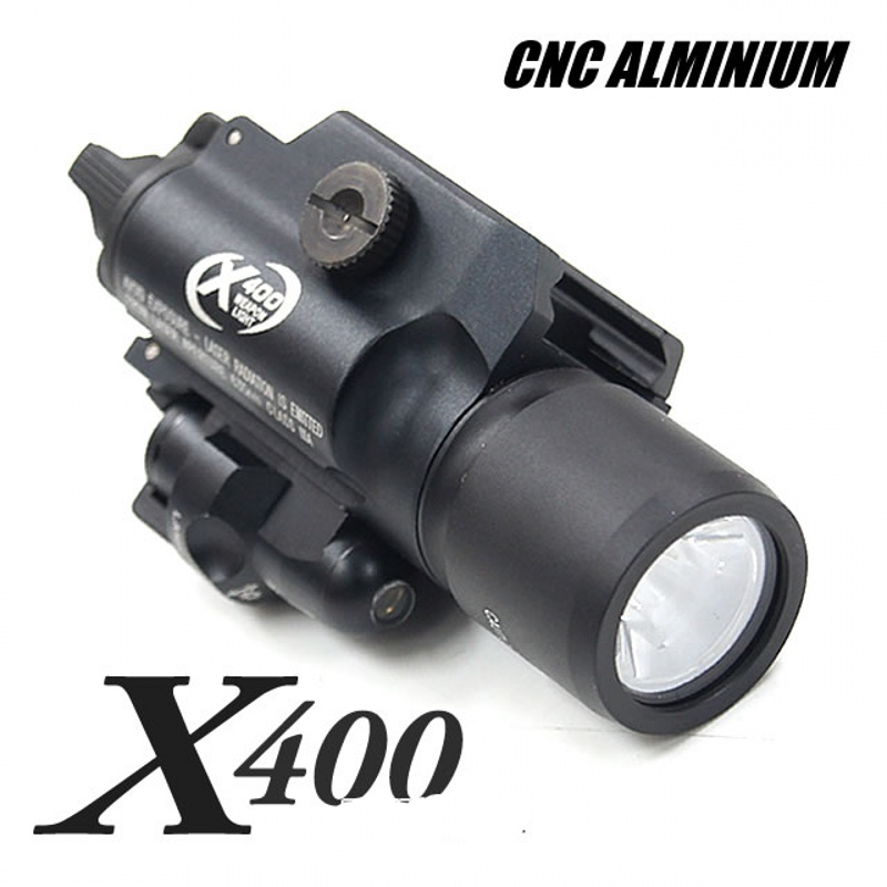 0987482a7986 CQC Tactical X400 Weapon Light With Red Laser LED Pistol Gun Flashlight  Airsoft Paintball Hunting Shooting Light