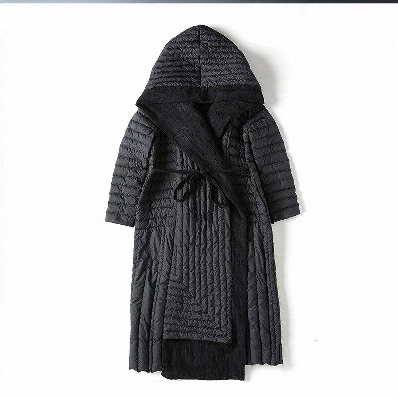 US $106.65 21% di SCONTO|2018 di Inverno di modo delle donne frivolo giù cappotto lungo delle donne sopra il ginocchio a vita alta con cappuccio