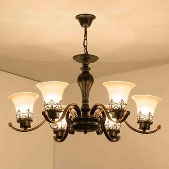 Getop American Country European Style Vintage Rectangle Glass Chandelier For Livingroom Restaurant & Villa
