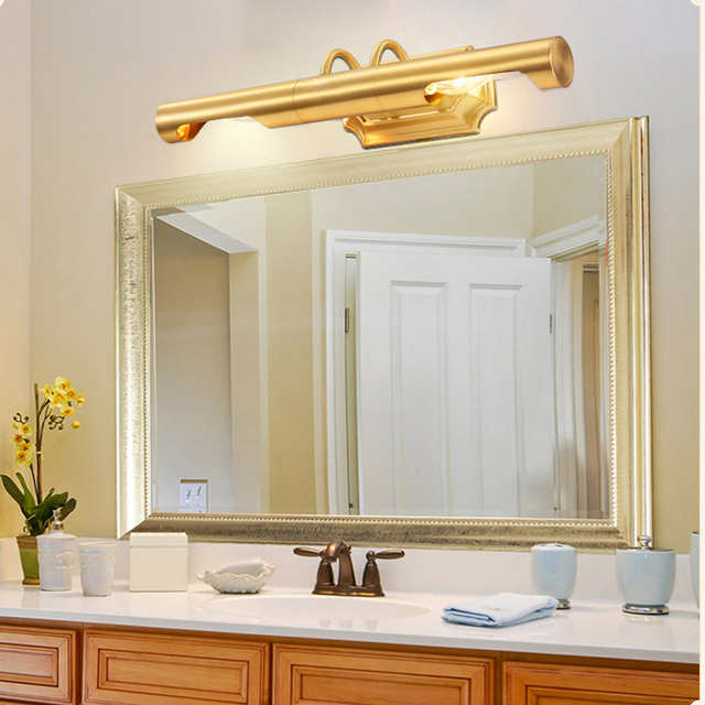 European style copper mirror before the lamp with american european style copper mirror before the lamp with american waterproof copper lamp retro bathroom lighting aloadofball Images