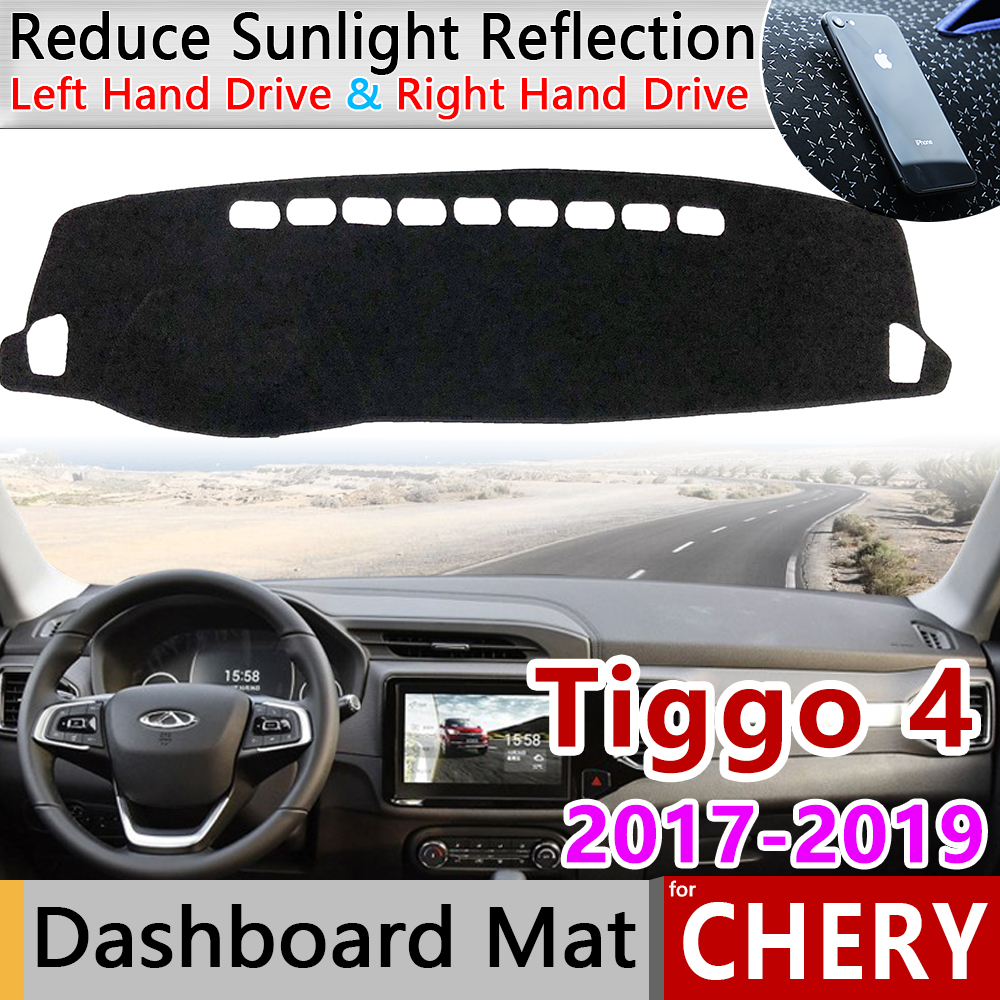 Slip Mat UV Accessories Dashboard Cover Pad Sunshade Dashmat Protect Carpet for Chery Tiggo 2018 2019 Other 3D Sticker 4 Front(China)