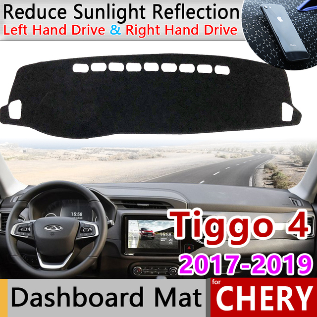Slip Mat UV Accessories Dashboard Cover Pad Sunshade Dashmat Protect Carpet for Chery Tiggo 2018 2019 Other 3D Sticker 4 Front