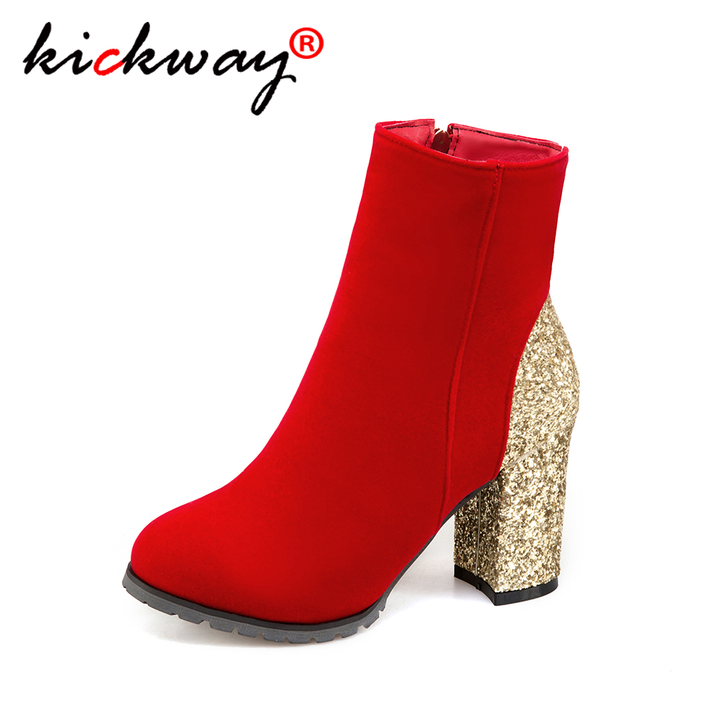 Womens Boots Ankle Round Toe Bling Faux-Leather High-Heels Sexy Autumn Plus-Size Bota-Feminina