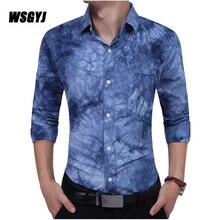 Men Shirt Brand 2017 Male Long Sleeve Shirts Casual Tie Dye Printing Slim Fit Dress Shirts Mens Camisa Masculina M-XXL