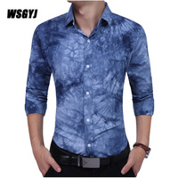 Men Shirt Brand 2017 Male Long Sleeve Shirts Casual Tie Dye Printing Slim Fit Dress