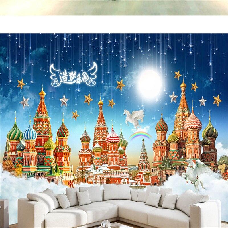 Custom Photo Wallpapers 3D Dream Castle Murals For Kids Wallpapers Starry Sky For Living Room Children Room Wall Papers Bedroom