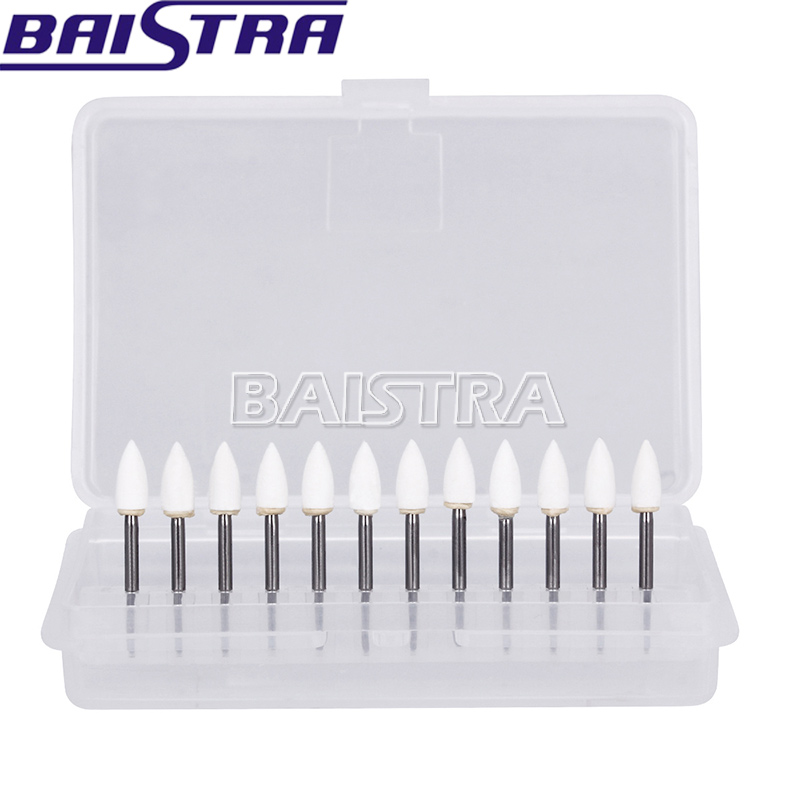 New 12Pcs Dental Flame White Stone Polishing FG Burs FL2 Abrasion Point Bur Fit High Speed Handpiece 1.6mm Dentist Tools