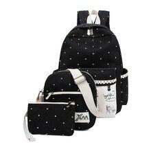 2016 Nouvelle Toile sacs à dos pour les adolescentes femmes école sac à dos shouder sac 3 Pcs/ensemble sac à dos mochila sac à dos en gros