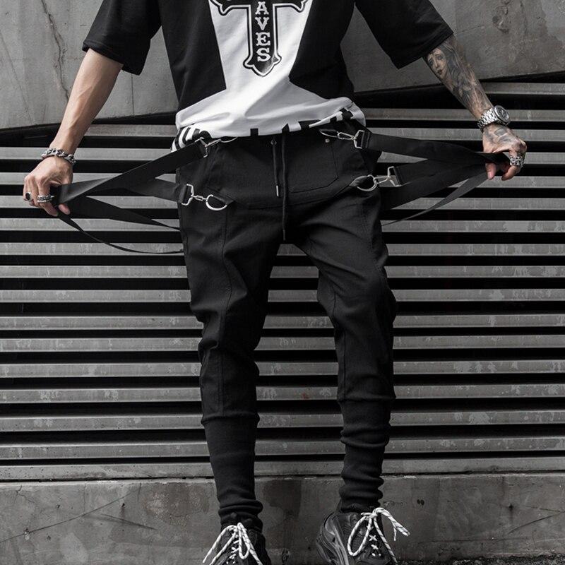 2019 New Autumn Side Pockets Men's Hip Hop Harem Pants Jogger Trousers Ribbons Male Sweatpants Streetwear Pencil Pants LBZ96