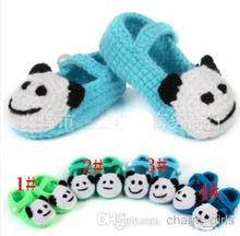 2014 Cartoon panda shoes flower girl crochet shoes 4 colors  Handmade infant Shoes baby First walker shoes