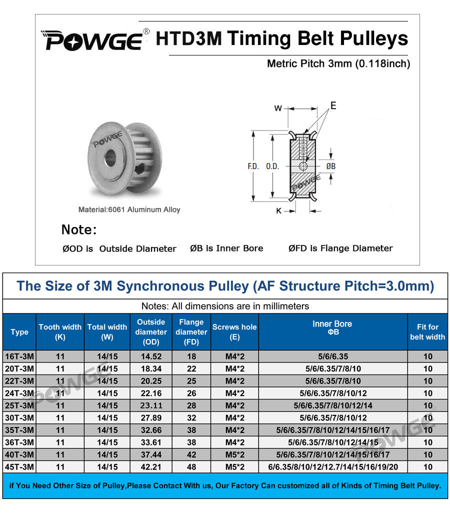 Powge 30 Teeth Htd 3m Synchronous Timing Pulley Bore 5 6 635 7 8 10 Belt Pulleys Aluminum Stock If You Need Other Size Please Contact With Us We Can Cut Any Width Of