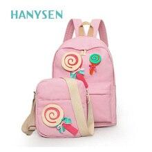 Новинка 2017 года конфеты мультфильм печатных холст рюкзак сумка комплект женские Модные Симпатичные день рождения Lolly сумки для девочек Лидер продаж школьная сумка два