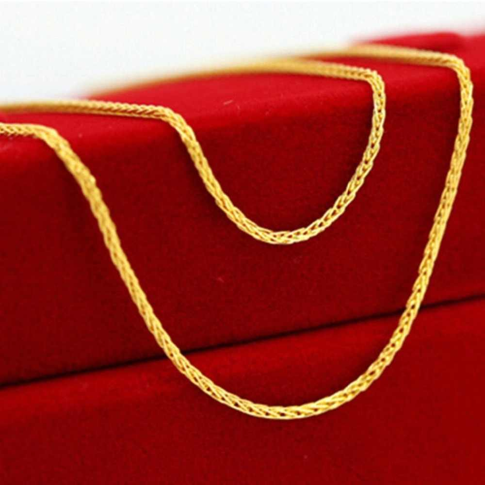 Fine Au750 Real 18K Yellow Gold Chain Women Wheat Link Necklace 18inch