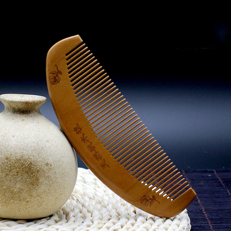 Natural massage mahogany natural carved antistatic relax head improve sleep quality hair quality hair brush health care products