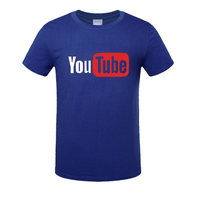 summer YouTube Logo Print Men Tshirts Men  Cotton T-shirts loose large code fashion leisure time T Shirts