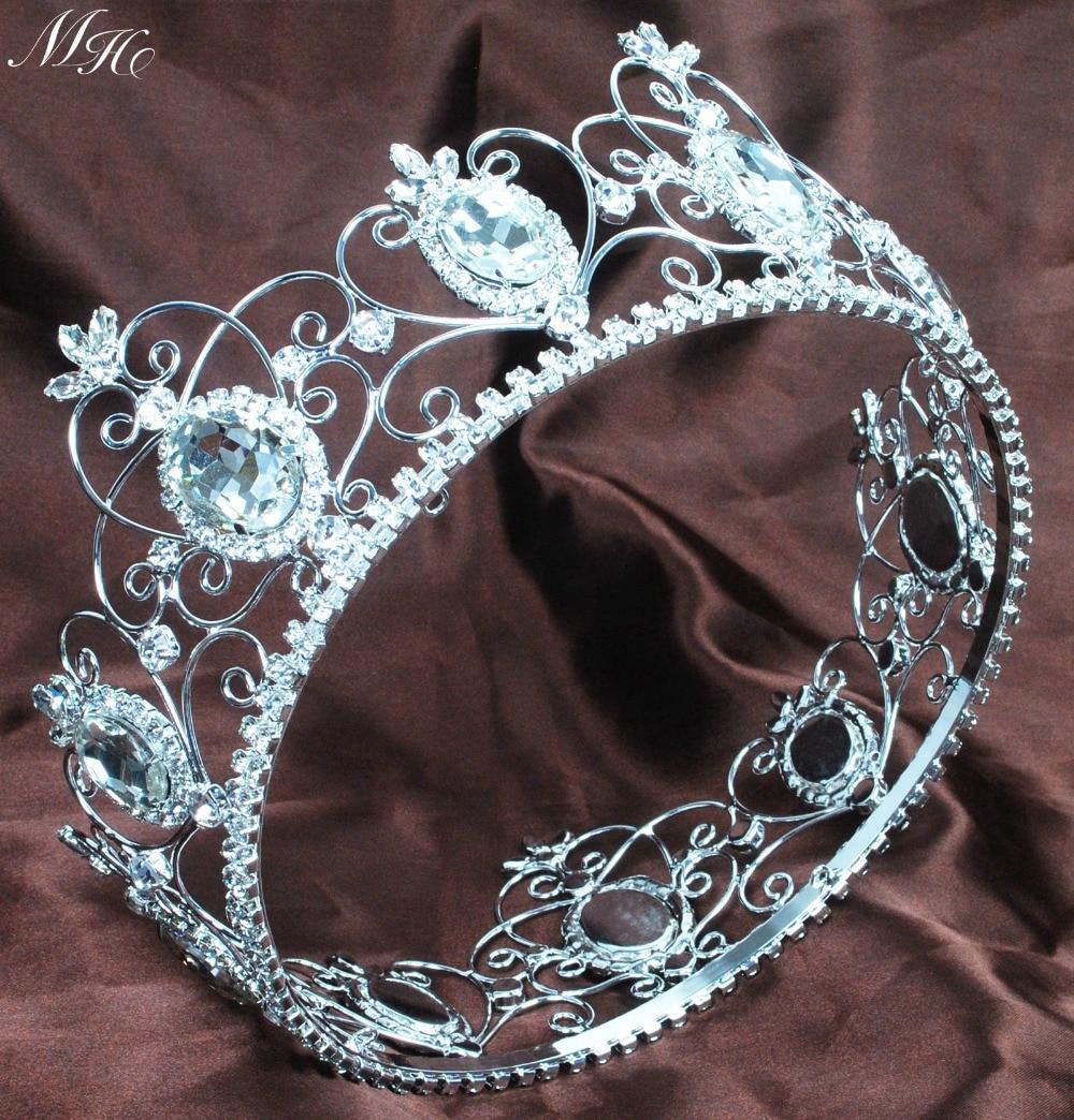 Crowns full circle round tiaras rhinestones crystal wedding bridal - King Queen 3 5 Crown Unisex Full Round Tiara Diadem Clear Crystal Rhinestones Wedding Bridal Pageant