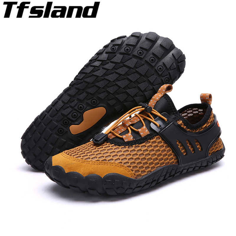 1fa3a35ebed1 ... Tfsland Water Shoes Men Flat Slippers New Breathable Aqua Shoes Hole  Mesh Non-slip Wading