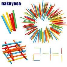 Varas de contagem de bambu colorido, varas para matemática montessori, auxiliares de ensino, brinquedo de aprendizagem de matemática para crianças com 100 peças