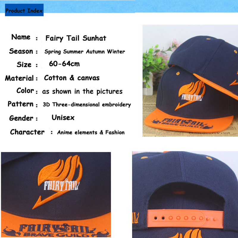 Anime Fairy Tail cotton baseball cap Sun hat cosplay gift Hip hop NEW Fashion 2015 in Men 39 s Baseball Caps from Apparel Accessories