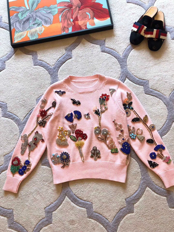 2018 Новое поступление осень и зима Для женщин ручной работы Бисер пуловер с длинными рукавами свитер Бесплатная доставка