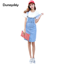 2018 Spring Slip Jeans Club Dress Vintage Jean Sundress Loose Spaghetti Strap Dress Female Mini Denim Party Dresses Dunayskiy