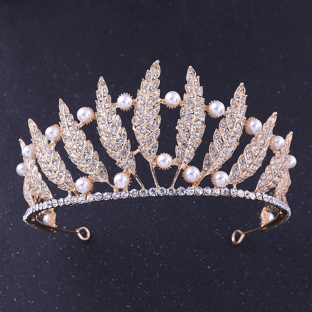 KMVEXO Baroque Leaves Crystal Bridal Crown For Wedding Hair Accessories 2019 New Simulated Pearl Crowns Tiaras Diadem Headbands