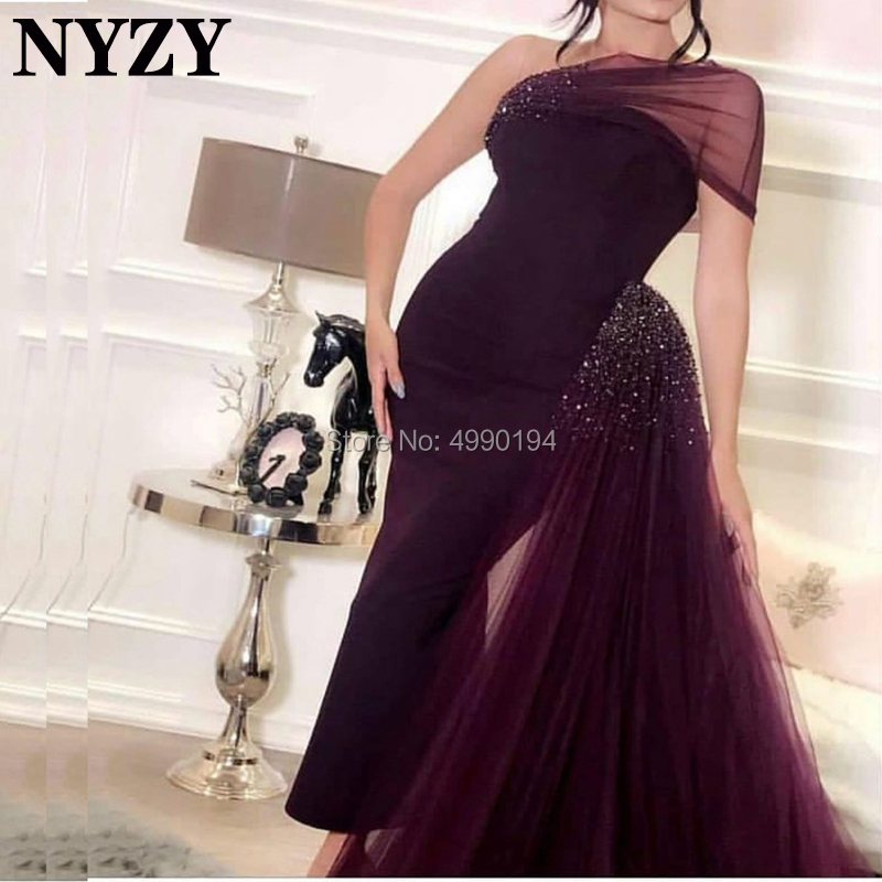 NYZY E93 Style saoudien arabe une épaule sirène robe en cristal vestido robe formelle robe de soirée dubaï robe de soirée 2019