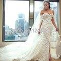 Милая off-плечи сексуальная русалка свадебные платья 2016 передний разрез уникальный платье невесты халат де Mariage с жемчугом MC224