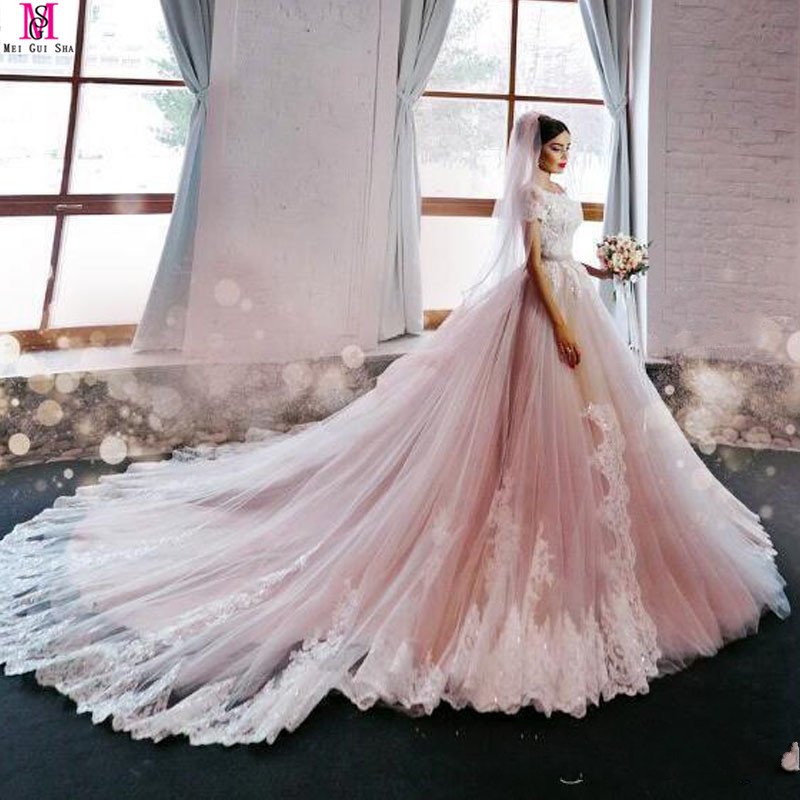 Princess Light Pink Lace Wedding Dress With Off The: 2017 New Blush Pink Elegant Princess A Line Wedding Dress