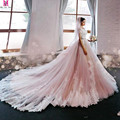2017 New Blush Pink Elegant Princess A-Line Wedding Dress Off The Shoulder Cap Sleeve Lace Applique Luxury Bridal Gowns