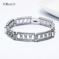 New 18.5cm long bracelets clear crystal stones trendy rectangle jewelry white jewellery hollow Bracelet & bangle for women