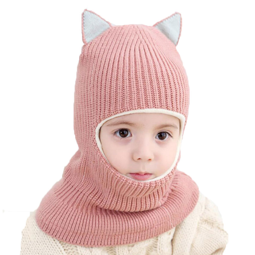 Beanie Warm Hat Kids Children Knitted Hooded Scarf Winter Circulal Knit Striped Earflap Ear Cap Scarves 2018 Child Accessories