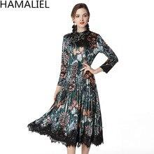 Hamaliel Runway invierno mujeres vestido 2018 Moda Verde imprimir flores  patchwork terciopelo Encaje manga larga vintage ee179d7c72ae