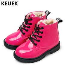 New 2019 Fashion Children boots Leather Waterproof Ankle boots Autumn Winter Warm Kids Snow boots Boys Girls shoes 020