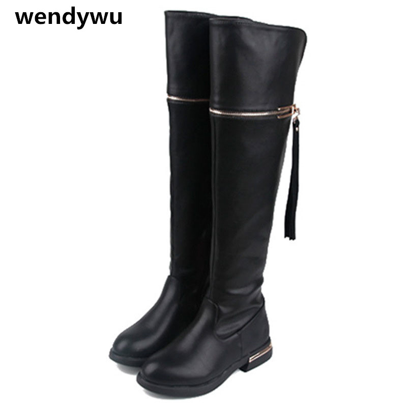 цены на WENDYWU autumn winter motorcycle boots baby girls over the knee boots children pu leather shoes toddler brand tassel boots