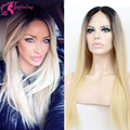 2016 Glueless Two Tone Ombre 1b/#613 Lace Front Wig Blonde Human Hair Full Lace Wig Human hair&7A Virgin Silky Straight Perruque