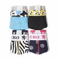4 pcs/lot 2017 Fashion Design Men Underwear Zebra Cow Leopard Printed Male Panties Pink heroes Cotton Men Boxer Shorts XXL/XL